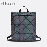 Aliwood New Arrival Brand Women Backpack Leather Student School bag Geometric Laser Diamonds Lattice Small Backpacks for Girls