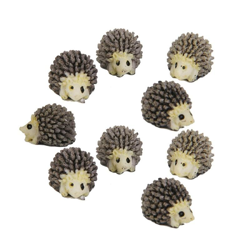 BESTOYARD 10pcs Miniature Hedgehog Landscape Garden Decoration Ornaments Fairy Garden Resin Crafts Decorations