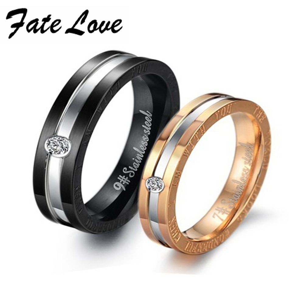 fate loce 2017 creative egyptian jewelry rhinestone titanium steel couple ring engagement ring bands gift drop shipping fl306 - Egyptian Wedding Rings