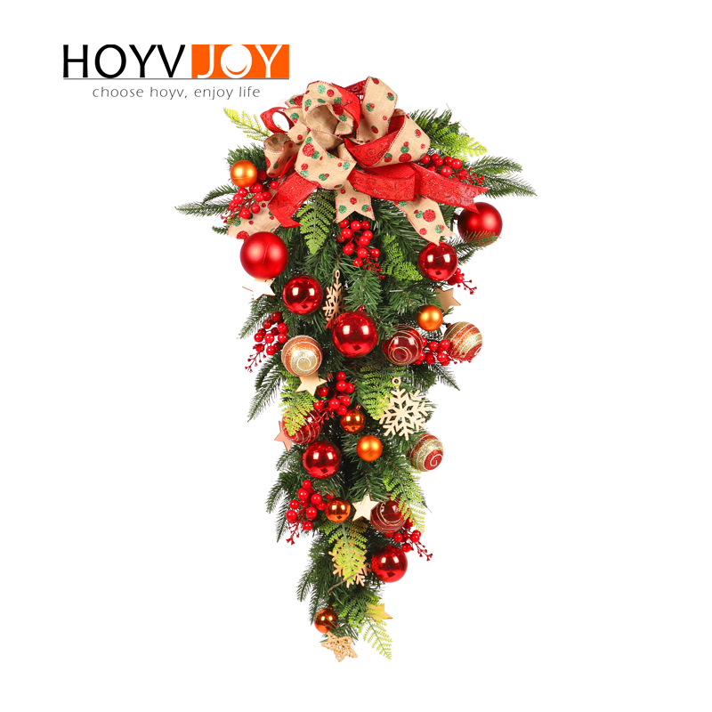 HOYVJOY 60CM Christmas Festival Home Decorations Christmas Upside down Tree Hanging on OrnamentsHOYVJOY 60CM Christmas Festival Home Decorations Christmas Upside down Tree Hanging on Ornaments