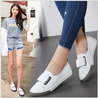 SpringAutumn Breathable Women's canvas shoes Women genuine leather Flat casual sneakers Round Toe Hook&Loop Ladies White Loafers