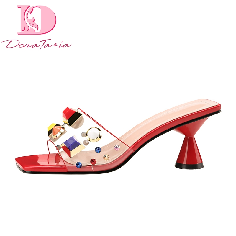 Doratasia 2019 dropship wholesale Summer Crystal strange <font><b>High</b></font> <font><b>Heels</b></font> Mules Female Rivets <font><b>woman</b></font> <font><b>Slippers</b></font> <font><b>Sexy</b></font> Fashion <font><b>women</b></font> <font><b>Shoes</b></font> image