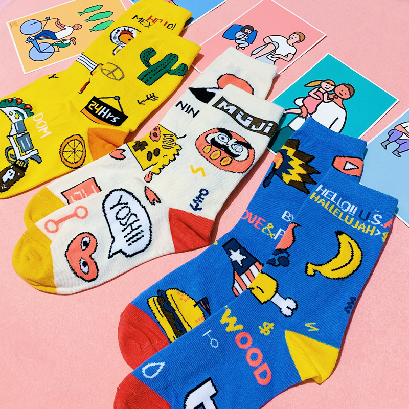 Harajuku Japan Style Women Funny Short   Socks   Spring Colored Warm Cotton Fashion Female Art   Socks   Hipster Student Painting Sox