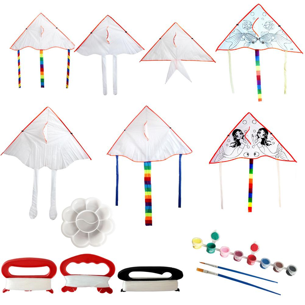 Children's Outdoor Sports Toys Handmade Kites 2PCS DIY Blank Painting Kites Doodle Kite With Flying Lines For Kids Making Fun