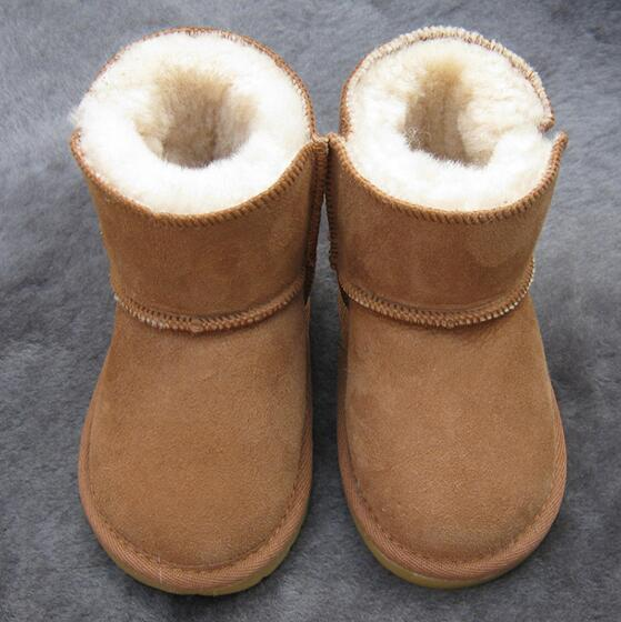 Children Boots Thick Warm Shoes Cotton-Padded Suede Buckle Boys Girls Snow Boots kids Waterproof Real Fur Baby boots ...