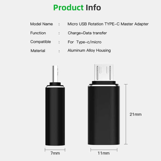 Type-C Adapter USB C to Micro USB Cable Alloy Micro USB Male to Type C Female Adapter Converter Connector for Phone Tablet 6