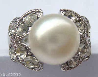 จัดส่งฟรี@@@@@ 8-9มิลลิเมตรสีขาวแหวนมุกขนาดขนาด: 7: 8: 9 AAA