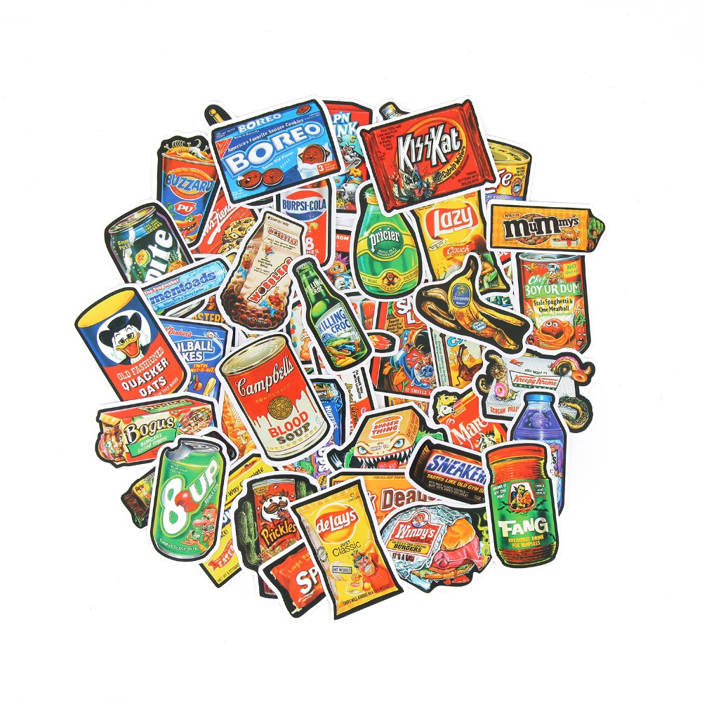 TD ZW 50Pcs/Lot Funny Snacks And Drinks Graffiti Stickers For Laptop Car Pad Luggage Phone Bicycle Decal Toy Stickers