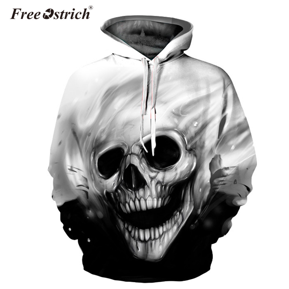 Free Ostrich Sweatshirt Hoodies Men Hooded Melted Skull Casual 3D Print Pullovers Streetwear Tops Regular Hipster Dropshipping