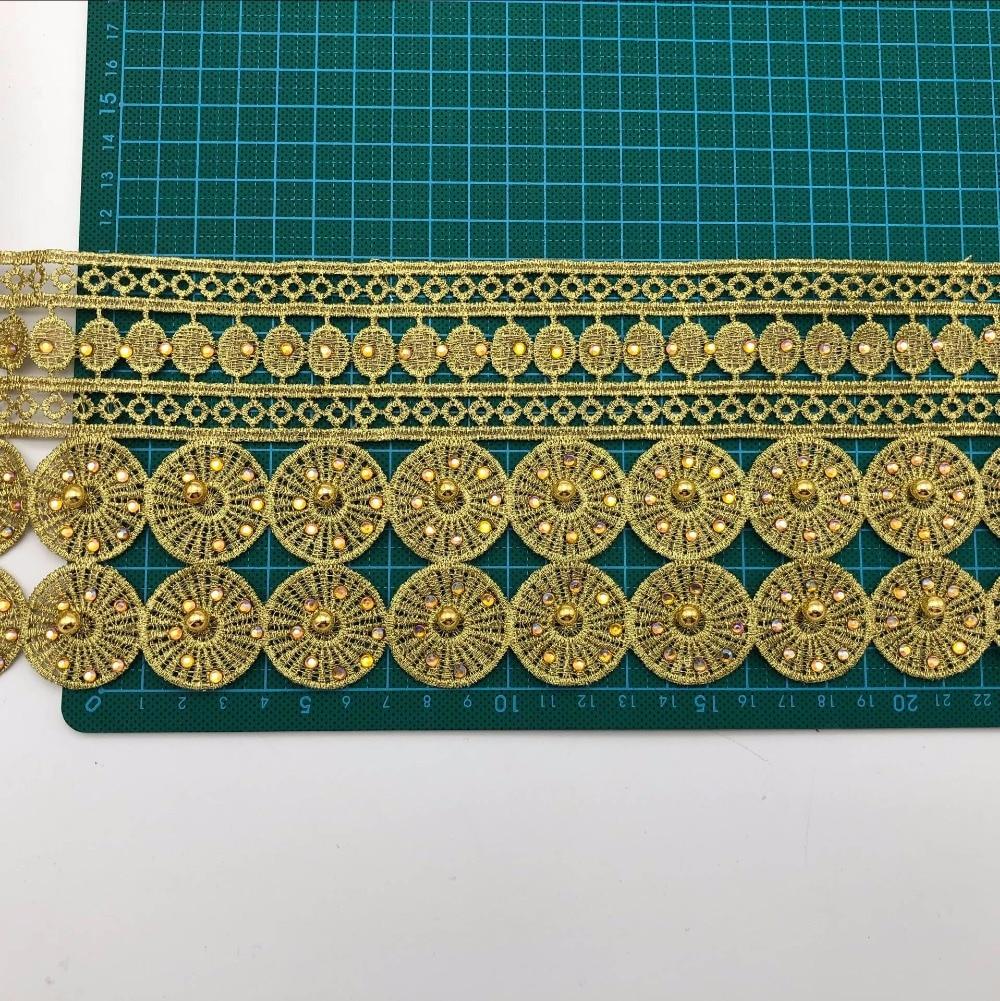 10yards Vintage Gold Metallic Embroidered Motif Lace Nigeria Venice Trim Crochet Cord Wide 11CM