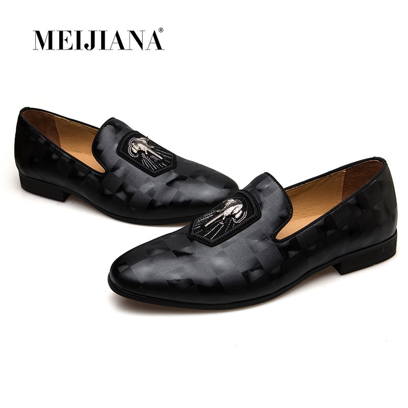 Meijiana 2018 봄 가을 정품 가죽 남성 로퍼 패션 남성 신발 블랙 연회 신발-에서남성용 캐주얼 신발부터 신발 의  그룹 1