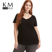 Kissmilk Plus Size 2018 Women Casual Black T-Shirt Large Female V-Neck Loose Over Appliques Short Sleeve Tops