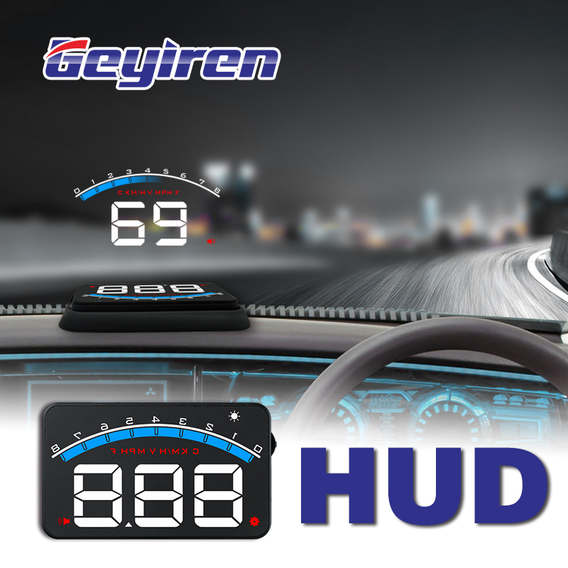 GEYIREN 3'' OBD II HUD Head Up Dispaly Car Unversal M6 Hud Display Overspeed Warning Windshield Projector Alarm System