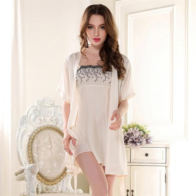2017 New Arrival Pajamas Sets Robe Sets Imitated Silk Sleepwear Women  Hot Sales Sexy  Robe  Sets for Girls
