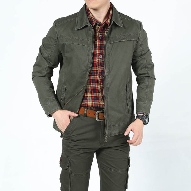 Spring Jacket Mens Jacket Coat Casual Military Turn-down Collar Veste Homme Solid Leisure Coat Male Cotton Outerwear Size M-3XL