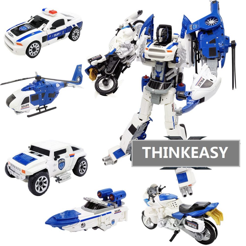5 IN 1 Transformation Robot City Secure Team Car / Ship / Helicopter / Motorcycle ABS + Alloy Children Toy Gift For Christmas viruses cell transformation and cancer 5