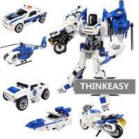 5 TRONG 1 Transformation Robot Thành Phố An Toàn Đội Xe/Tàu/bằng trực thăng/Xe Máy ABS + Hợp Kim Trẻ Em Toy Gift Đối giáng sinh