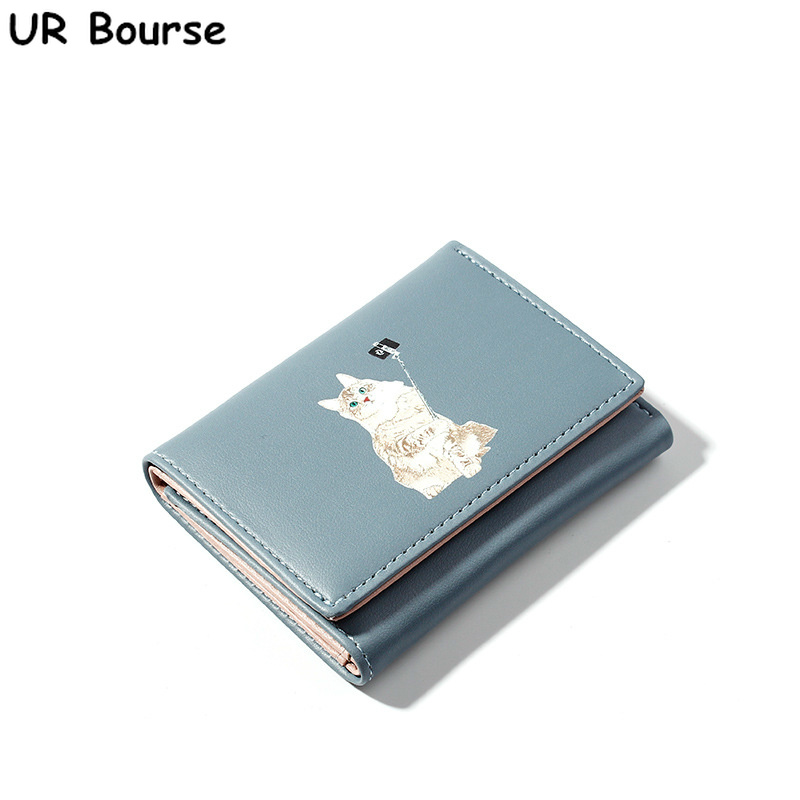 UR BOURSE New Female Cartoon Cute Purse Ladies Pu Leather Small Wallet Girl Three Fold Coin Card Holder Multi-card Buckle