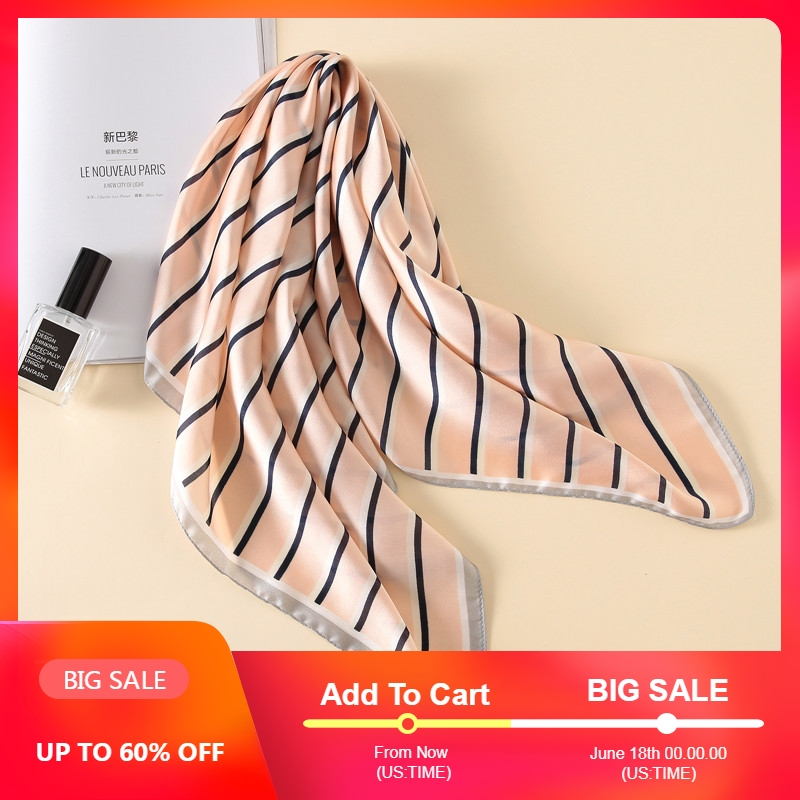 Fashion Women   Scarf   Luxury Brand Striped Striped Print Hijab Pure Silk Shawl Scarfs Foulard Square Head   Scarves     Wraps   2017 NEW