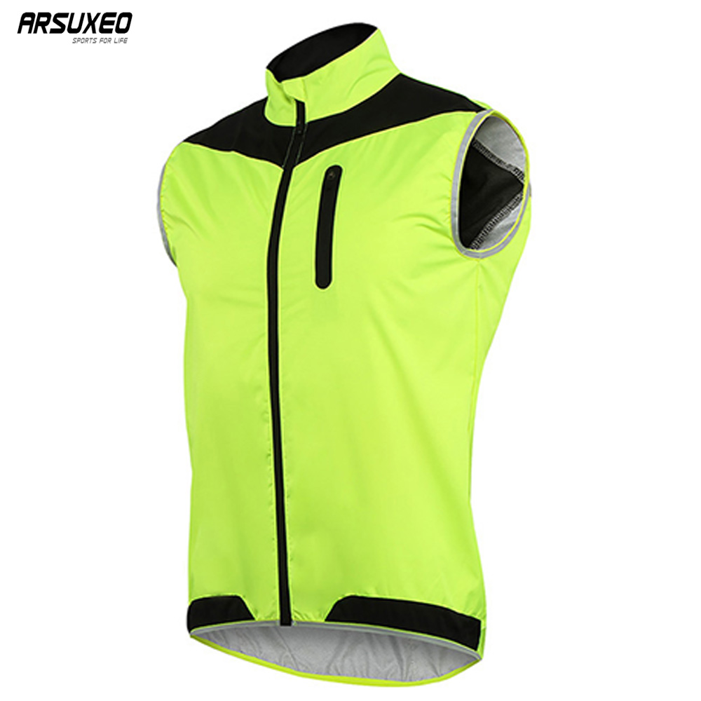 ARSUXEO Men's Cycling Vest Windproof Waterproof MTB Bike Bicycle Vest Breathable Reflective Clothing Cycling Jacket 17V2 2015 arsuxeo mtb 1202