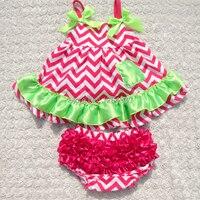 2018 hot pink meninas balanço set top balanço do bebê outfits com correspondência bloomer do bebê menina e cabeça KP-SW021