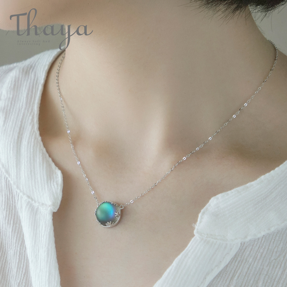 Thaya 45cm Crystal Gemstone s925 Silver Aurora Necklace Halo Scale Light Forest Women Pendant Necklace for Girl Elegant Jewelry(China)