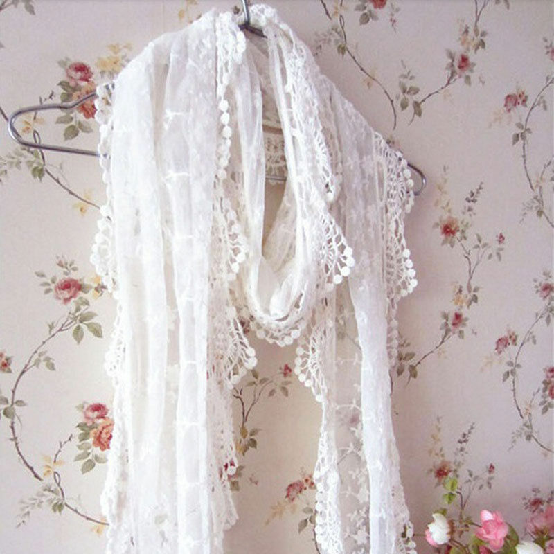 Fashion Women Lady Long Scarf Embroidery Floral Crochet Mesh Lace Trim Shawl Scarf New Stylish