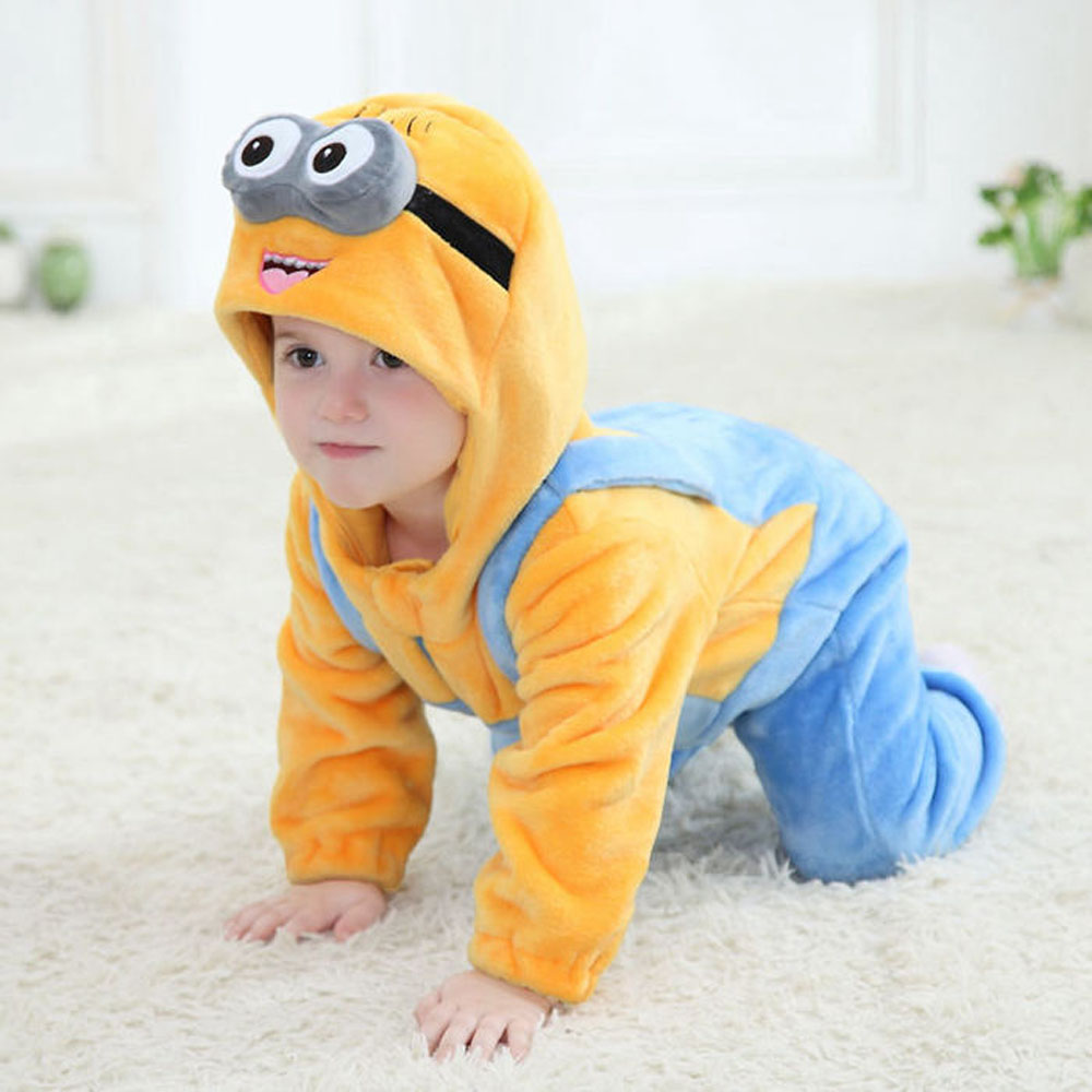 Minions Baby Clothes Romper Infant Costume 2017 New Spring Hooded Flannel Toddler Romper Infant Jumpsuit Clothing Baby Costume