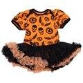 Cráneo Calabaza de Halloween Del Bebé Niña Niño de Encaje Vestido Del Mameluco Del Mono Ropa Infantil Niñas Ropa de bebé Recién Nacido