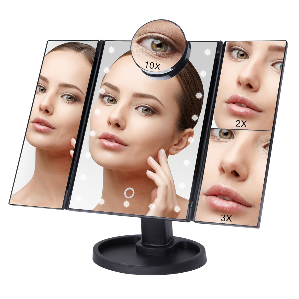 Touch Screen Makeup Mirror with 22 LED Light 1X/2X/3X/10X Magnifying Glass Compact Vanity Mirror Flexible Cosmetics Mirrors MakeMakeup Mirrors   -