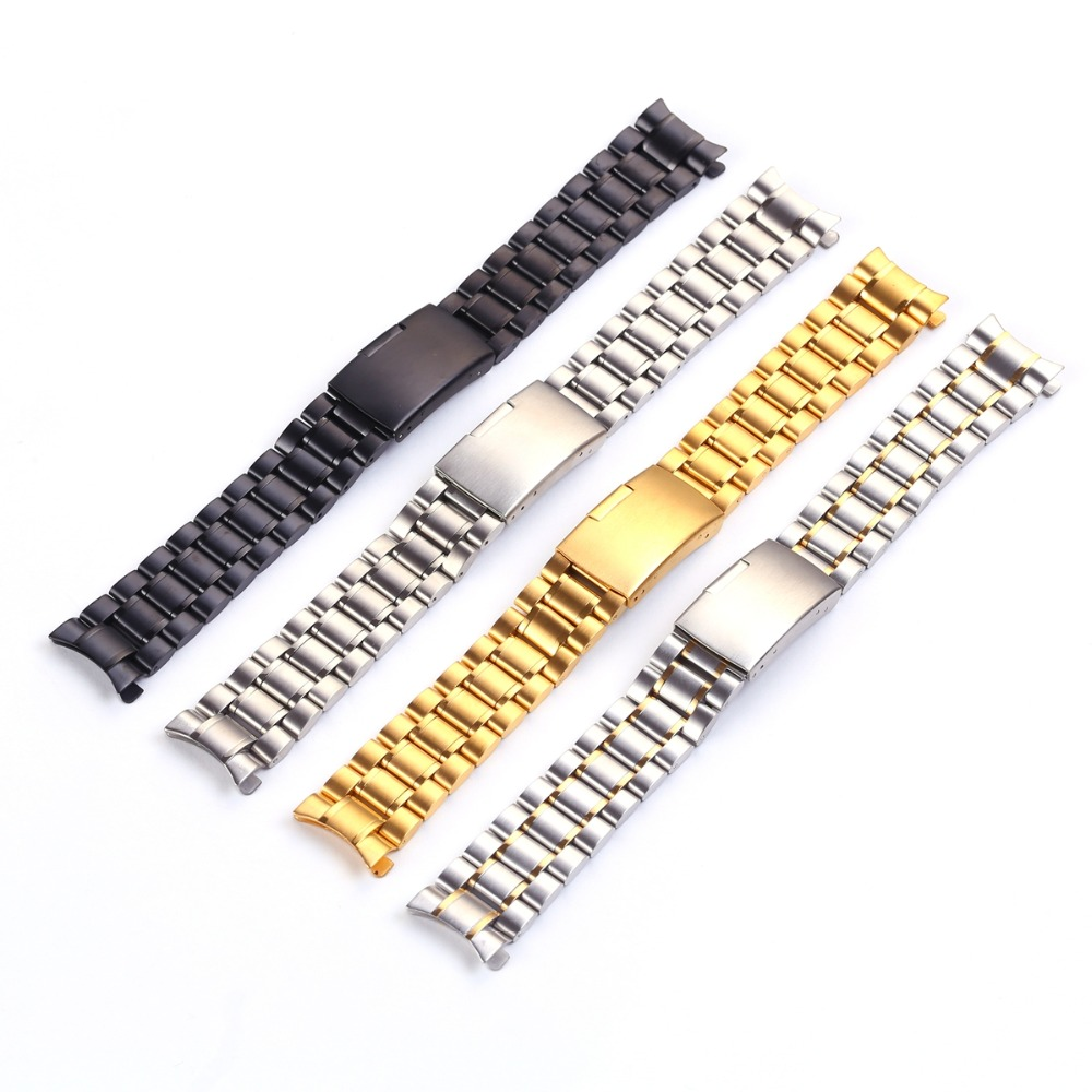 Men Stainless Steel Watch Straps 18mm 20mm 22mm 24mm Watch Bracelet Watchband with Curved Head hq stainless steel watchband 20mm 22mm