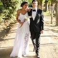Sexy Bohemian Lace Beach Wedding Dress 2017 Romantic Chiffon Spaghetti Straps Backless Boho Vestido De Noiva Summer Bridal Gowns
