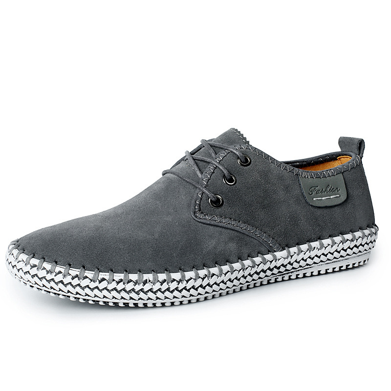 Handmade Mens Shoes Genuine Leather Casual Shoes Luxury Brand Breathable Men Flats Shoes Big Size Male Loafers Zapatos Gray Blue bimuduiyu luxury brand mens breathable suede leather casual shoes handmade fashion male doug shoes silp on british style flats
