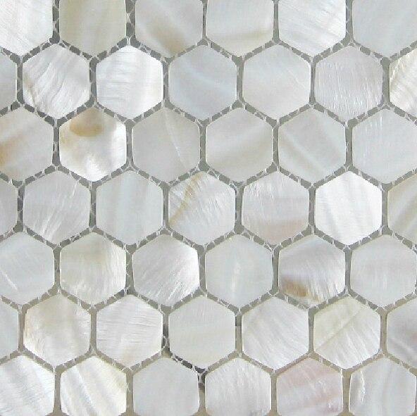 Hexagonal mosaicos backsplash de la cocina azulejos azulejo nacarado ...
