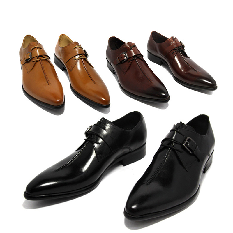 PJCMG oxford Shoes Deep coffee color/Dark yellow/ black mens business dress shoes genuine leather pointed toe mens wedding shoes