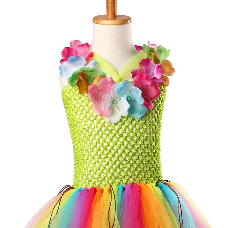Girls Hawaiian Grass Hula Tutu Dress with Flower Garland Necklace Kids (15)