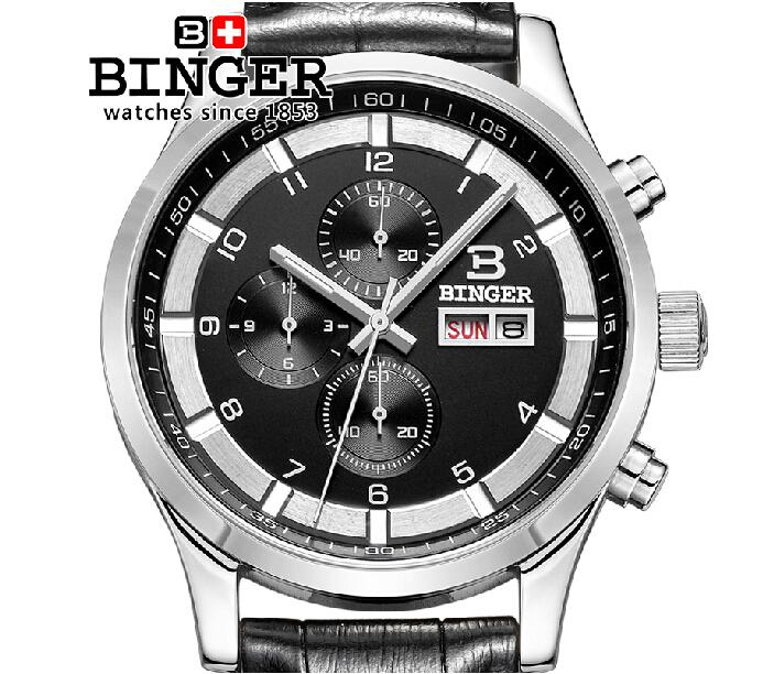 Switzerland watches men luxury brand Wristwatches BINGER Quartz full stainless leather strap steel waterproof 300M BG-0403-6