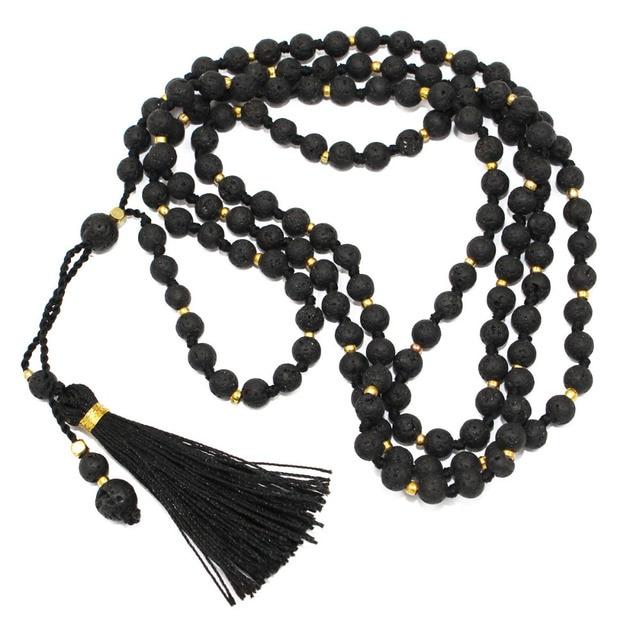 2015 Handmade Luxury Black Firestone Necklace with Pendants Tassels Paris Fashion Week Long Choker Also use as Bracelet