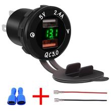 Universal Car Charger USB Vehicle DC12V-24V Waterproof Dual USB Charger 2 Port Power Socket QC3.0 Fast Charging(China)