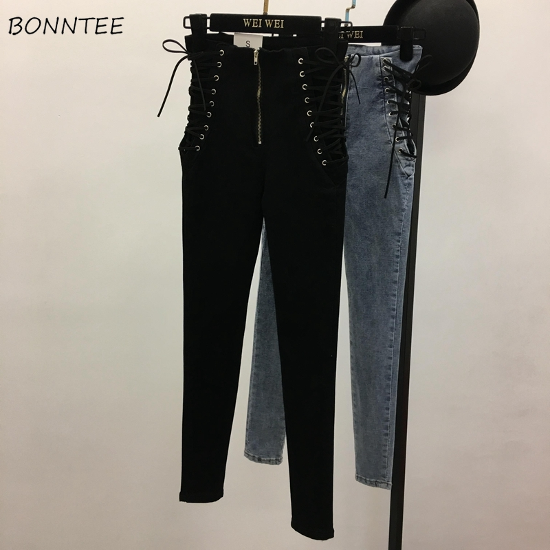 Jeans Women Side Strap Large Size Solid Simple Womens All-match Skinny Ankle-length Zipper High Elasticity Slim Students Chic