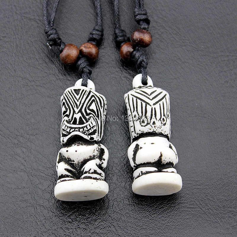 Kühlen Nachahmung Yak Knochen Carving Tiki Totem Anhänger Halskette Glück Amulett Talisman für Männer frauen Geschenk MN602