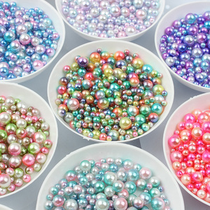 100-500PCS 3/4/5/6mm Rainbow Color Round Imitation ABS Pearl No hole Beads For Jewelry making Craft Scrapbook Decoration DIY