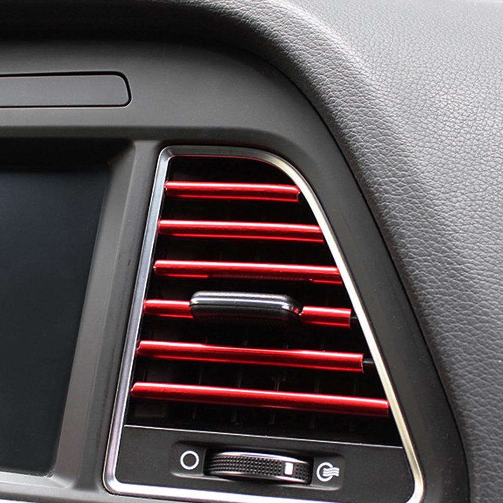 10Pcs Universal Car Auto Air Outlet Vent Interior Decorative Stickers Decals Strip Accessory Air Vent Strip