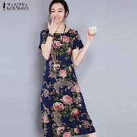 ZANZEA Women Dress 2017 Summer O Neck Short Sleeve Vintage Print Dresses Casual Loose Midi Vestidos Plus Size M-5XL