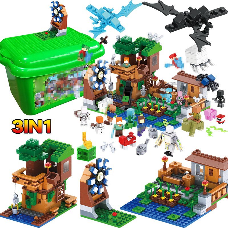 3 EN 1 Mon Monde Série Luxe Arbre Maison Village Ferme Compatible legoINGLY Minecraft Moulin À Vent Blocs De Construction Brique Enfants jouet