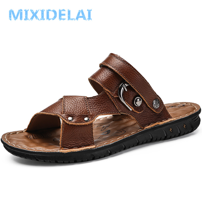 MIXIDELAI Summer Men Sandals Genuine Leather Men Beach Sandals Brand Men Hand Sewing Cow Leather Casual Shoes Flops Sneakers