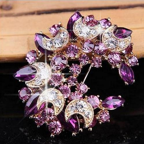 Бутоньерка на лацкан, булавки, прекрасный кристалл, модная женская свадебная брошь, хиджаб, булавки, ювелирные изделия, большой цветок, броши 20D - Окраска металла: purple