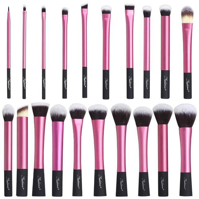 Sedona Incrível 20 Pedaços de cabelo denso macio Rosa pincel de maquiagem conjunto completo de cosméticos Profissionais de Alta Qualidade para o presente