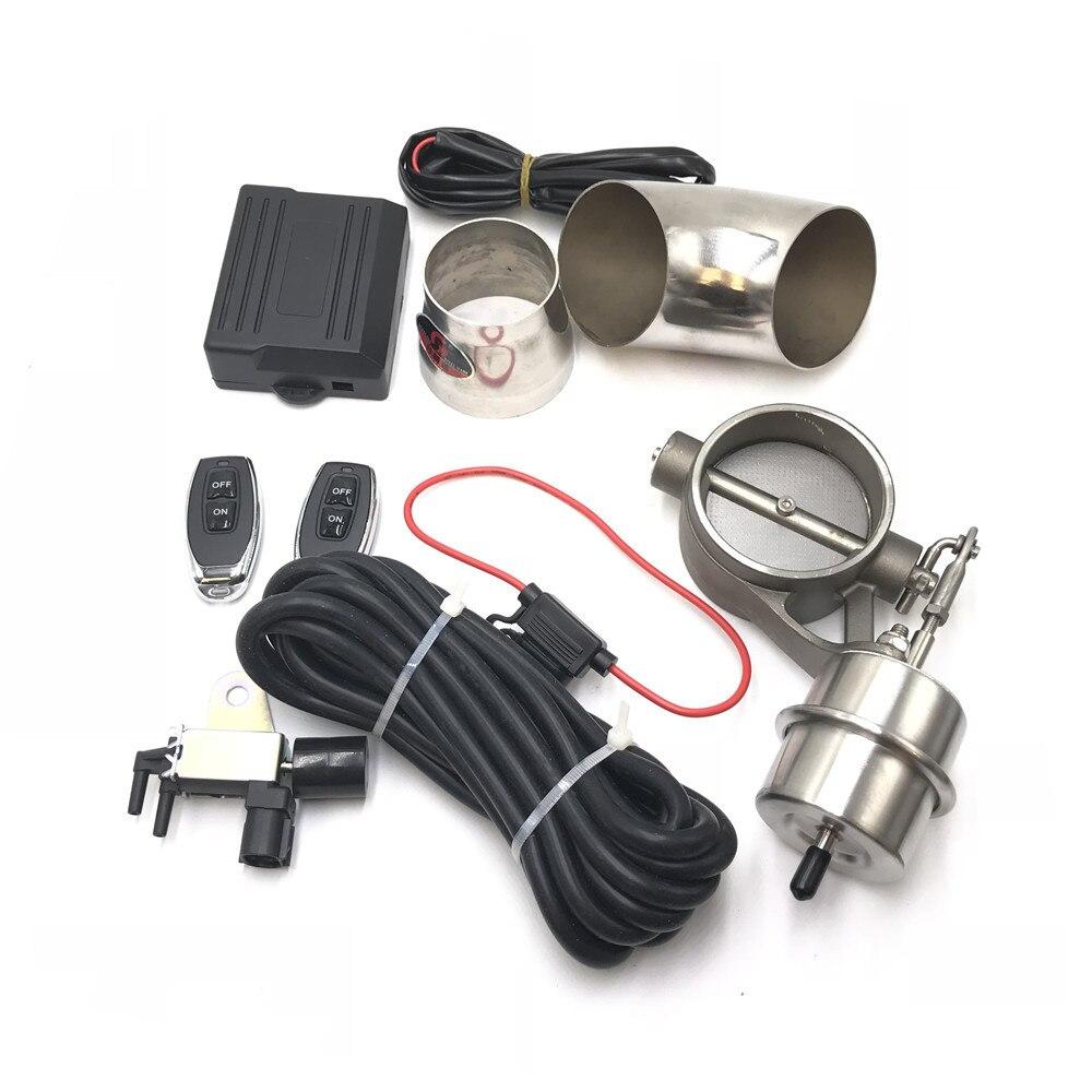 Автомобильный Выпускной контрольный клапан с вакуумным приводом, вырезанная труба, закрытый стиль с беспроводным пультом дистанционного управления - Цвет: 63MM Full Set