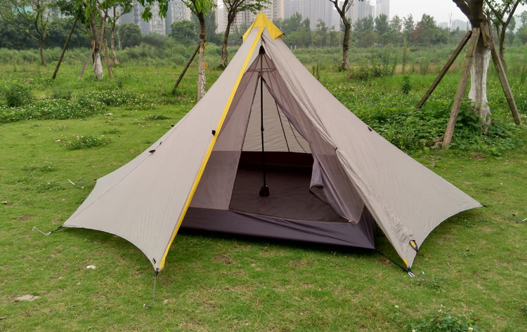 995G Camping Inner Tent Ultralight 3-4 Person Outdoor 20D Nylon Sides Silicon Coating Rodless Pyramid Large Tent Campin 3 Season 1240g camping tent ultralight 6 8 person outdoor 20d nylon both sides silicon coating rodless large space tent triangle 4 season